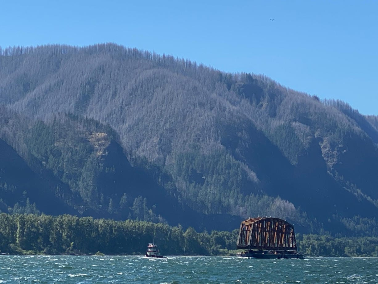 Bernadette Price of Skamania caught this photo of a BNSF Railway bridge in transit on the Columbia River to its new home on Drano Lake.