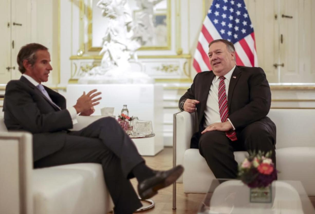 U.S. Secretary of State Mike Pompeo meets with International Atomic Energy Agency (IAEA) Director General Rafael Grossi in Vienna, Friday, Aug. 14, 2020. Pompeo is on a five day visit to central Europe.