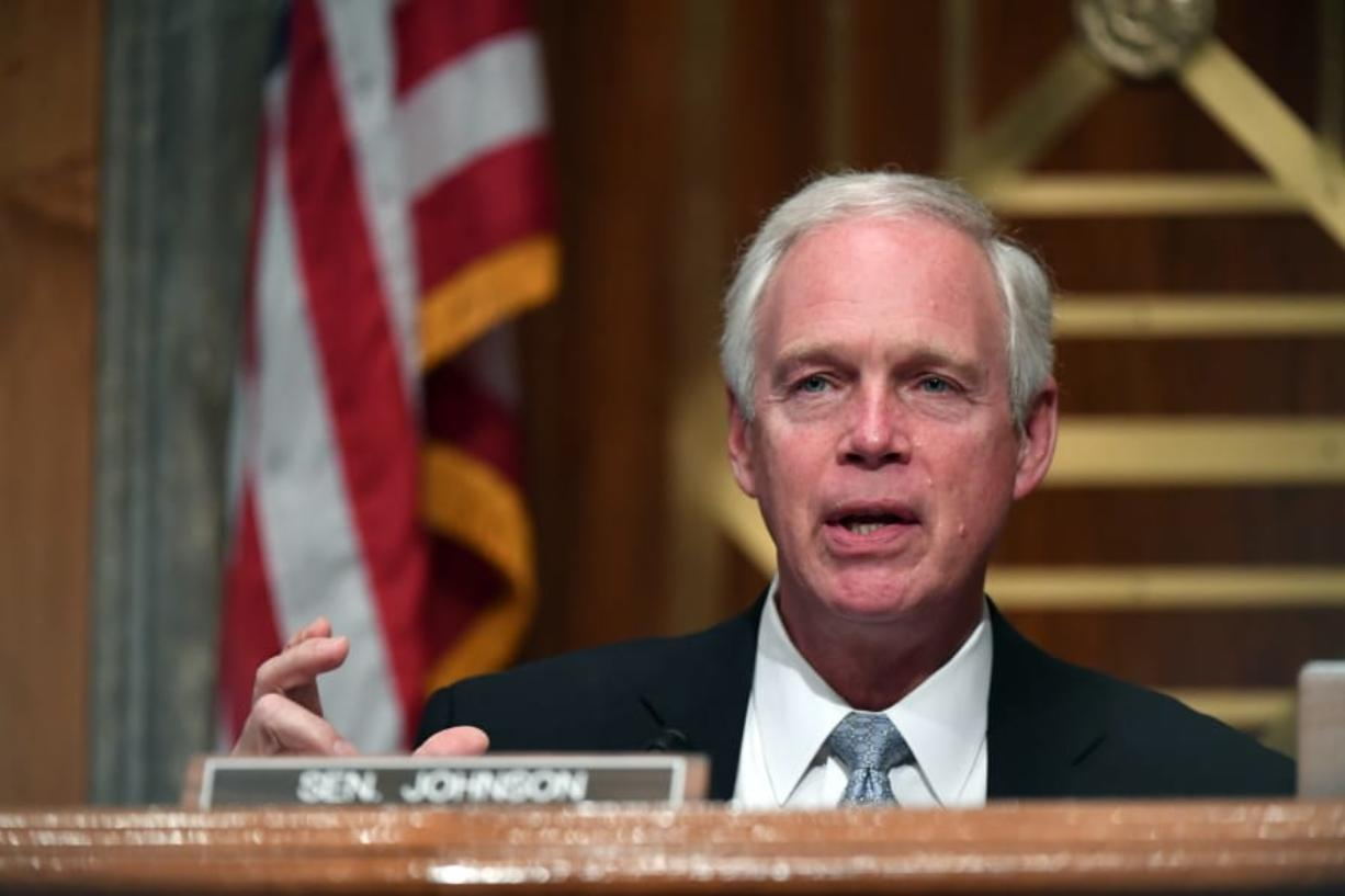 Sen. Ron Johnson, R-Wis., speaks during a Senate Homeland Security and Governmental Affairs Committee hearing to examine Department of Homeland Security personnel deployments to recent protests on Thursday, Aug. 6, 2020, in Washington.