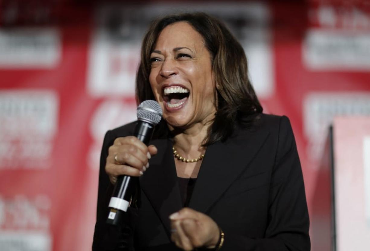 Sen. Kamala Harris, D-Calif., reacts as she speaks at a town hall event at the Culinary Workers Union in Las Vegas in late 2019.