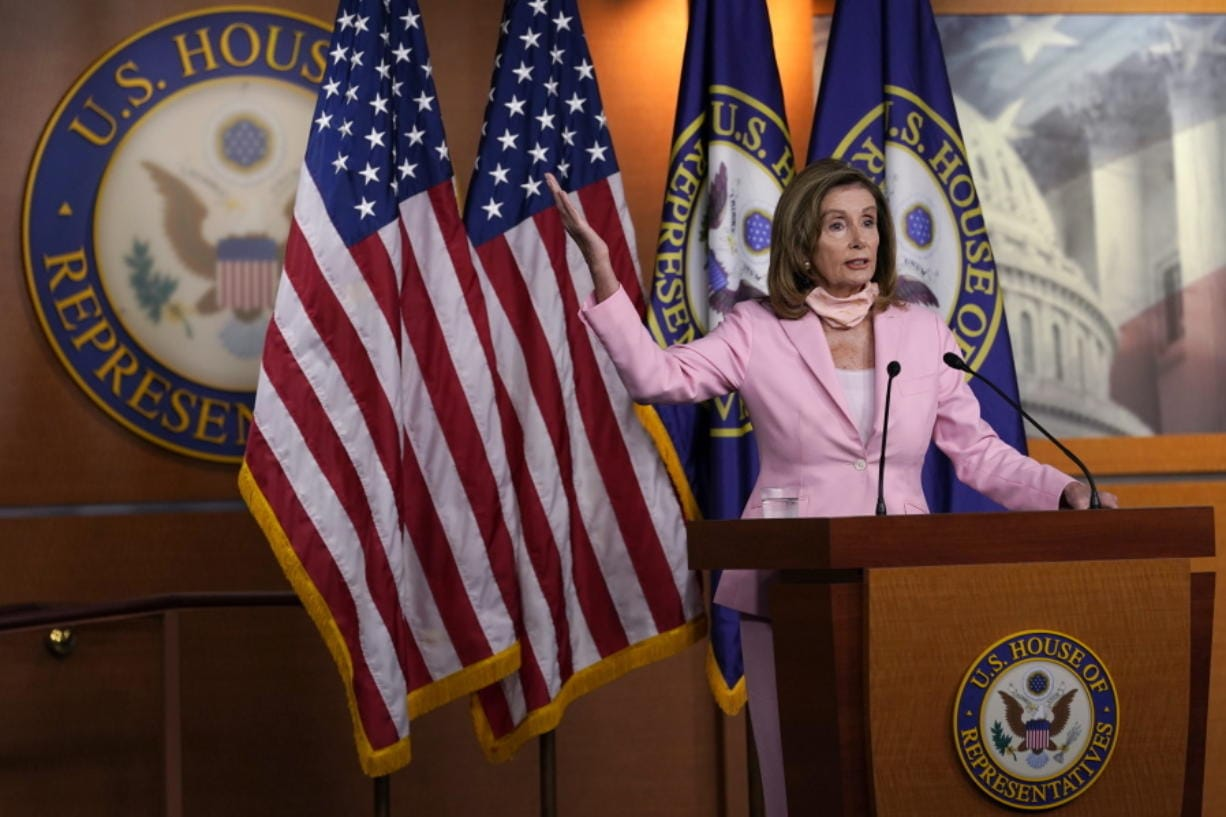 House Speaker Nancy Pelosi of Calif., speaks during a news conference on Capitol Hill in Washington, Saturday, Aug. 22, 2020. The House is set for a rare Saturday session to pass legislation to halt changes in the Postal Service and provide $25 billion in emergency funds.