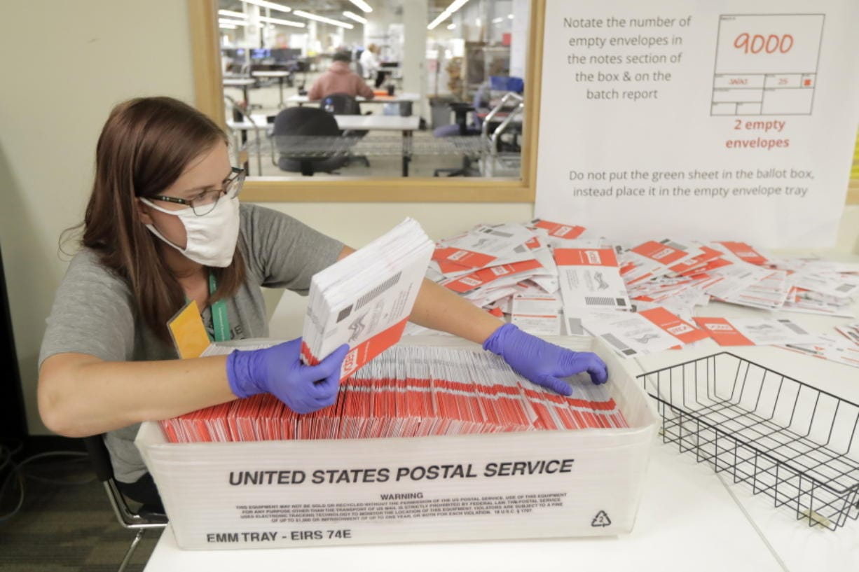 Sydney Freenas wears a mask as she works to process ballots from Tuesday's primary election that were mailed out to voters and then deposited in drop boxes or mailed back in, Wednesday, Aug. 5, 2020, at the King County Elections headquarters in Renton, Wash., south of Seattle. Washington state has offered voting by mail since 2011. (AP Photo/Ted S.