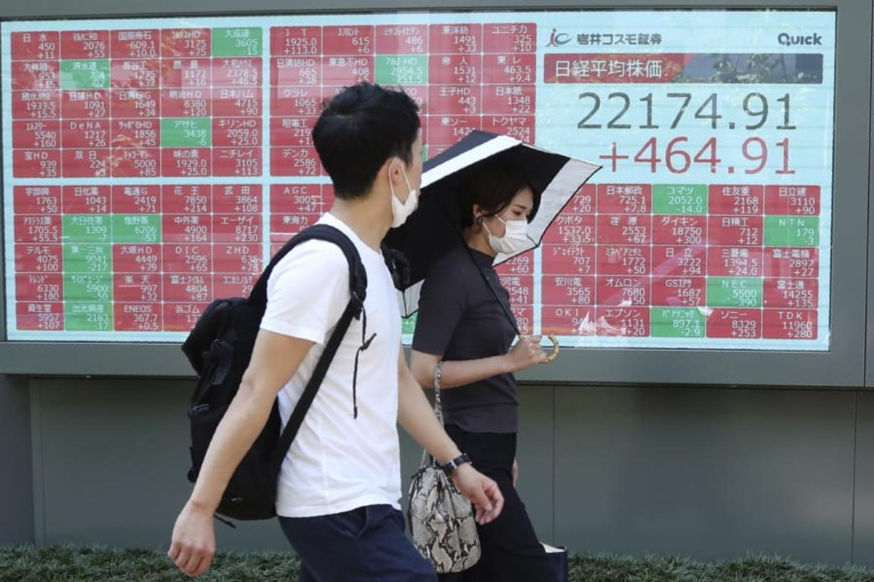 People wearing face masks walk by an electronic stock board of a securities firm in Tokyo, Monday, Aug. 3, 2020. Asian shares were mixed on Monday, as investors watched surging numbers of new coronavirus cases in the region, including in Japan.