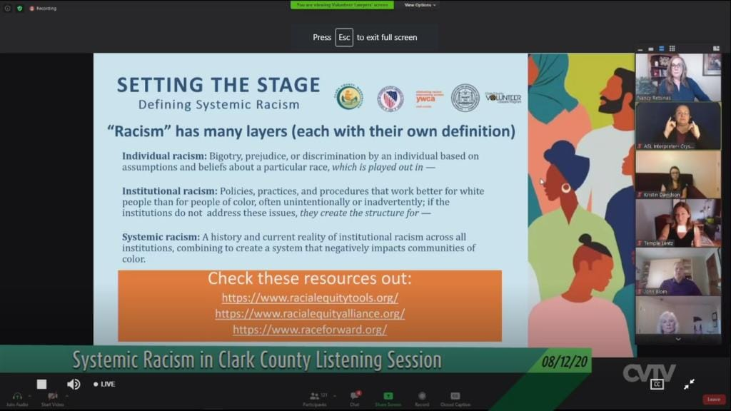 The Clark County Council heard from county residents about their experiences with systemic racism during a virtual listening session Wednesday.