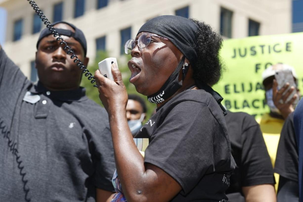 FILE - In this June 27, 2020, file photo, Sheneen McClain speaks during a rally and march over the death of her son, Elijah McClain, outside the police department in Aurora, Colo. The parents of Elijah McClain, a 23-year-old Black man who died after officers in suburban Denver stopped him on the street last year and put him in a chokehold, sued police and medical officials Tuesday, Aug. 11.