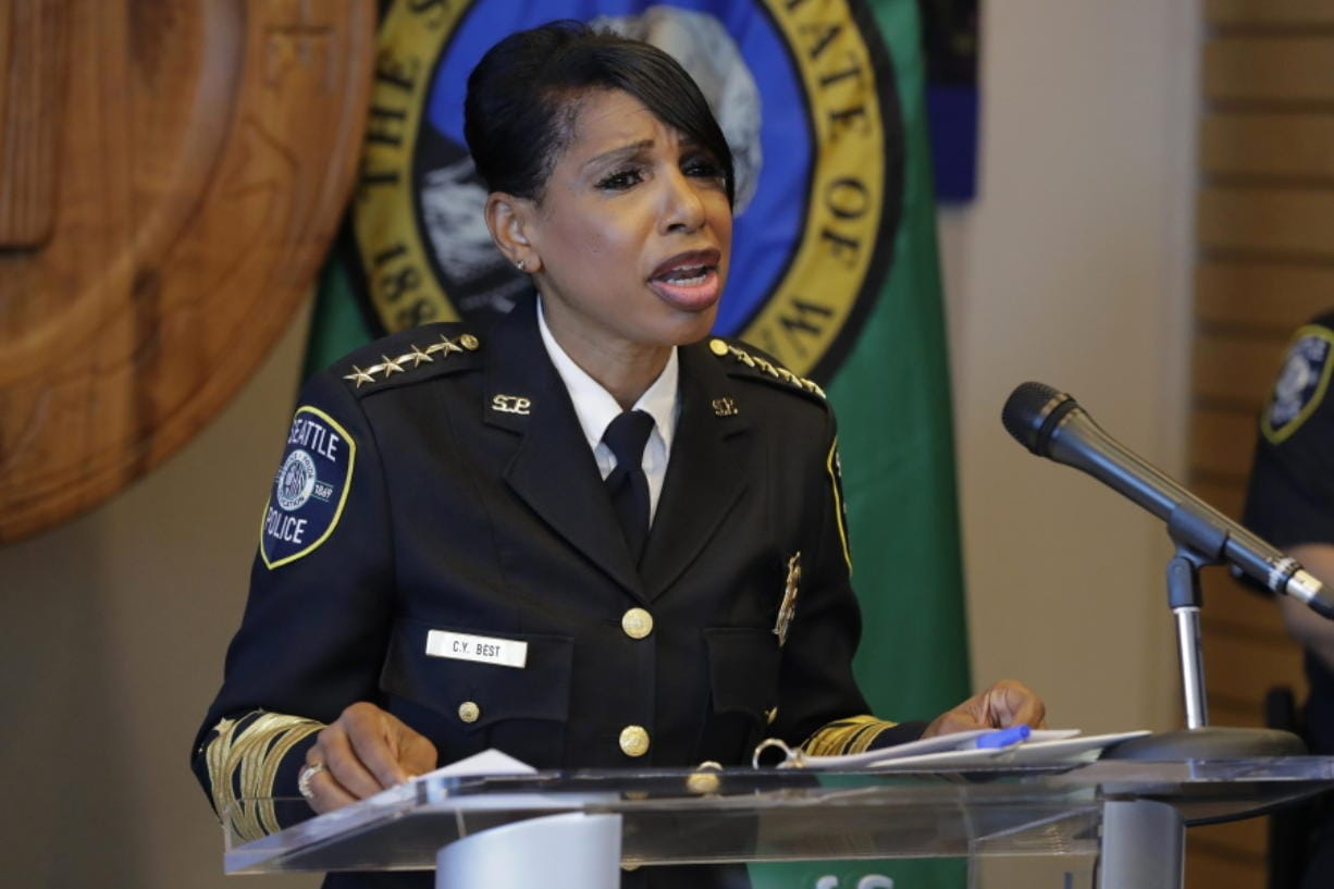 Seattle Police Chief Carmen Best speaks during a news conference Tuesday in Seattle. Best, the first Black woman to lead Seattle's police department, announced she will be stepping down in September. (ted s.