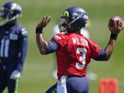 Seattle Seahawks quarterback Russell Wilson passes during NFL football training camp, Friday, Aug. 14, 2020, in Renton, Wash. (AP Photo/Ted S. Warren, Pool) (Ted S.