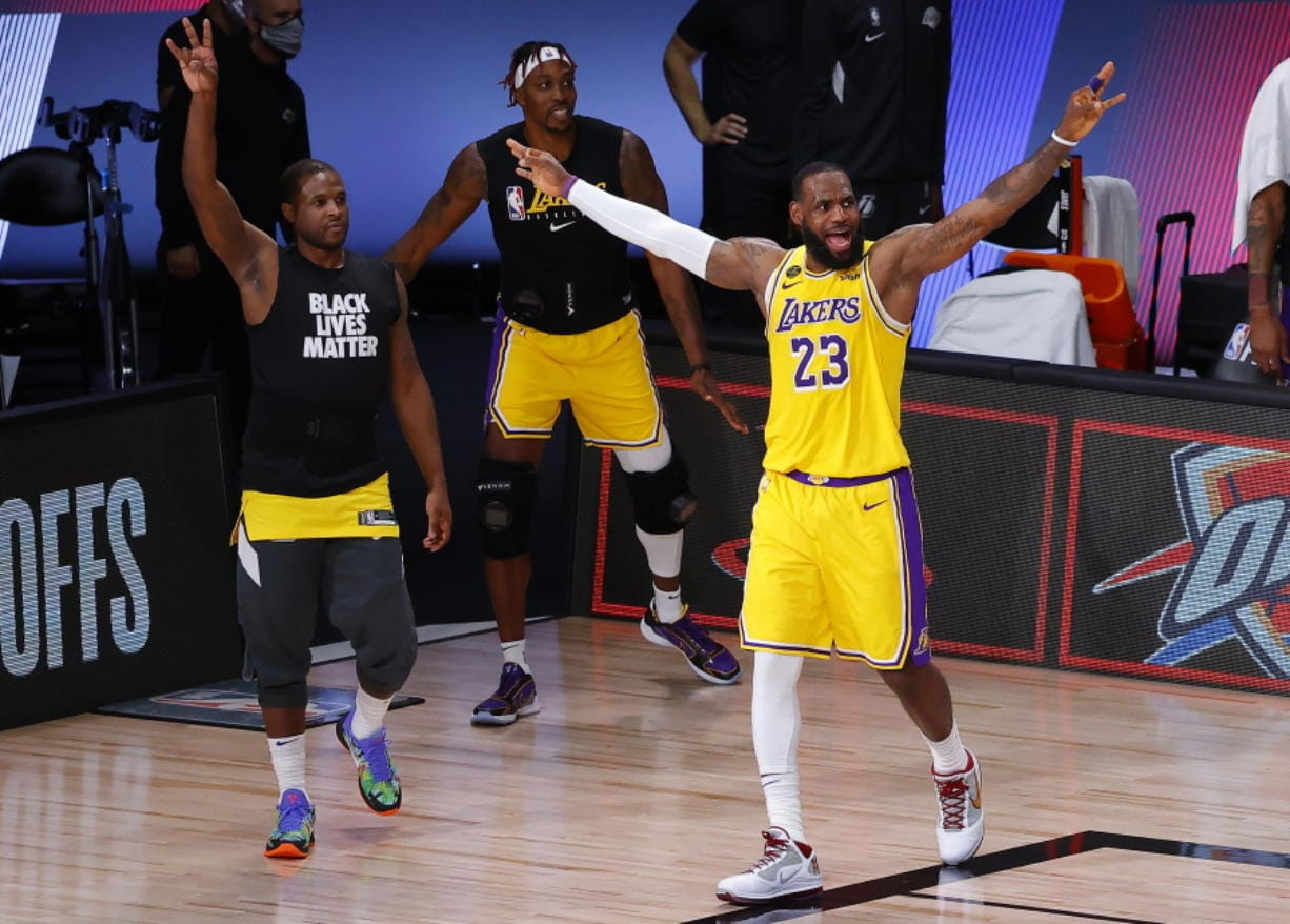 Los Angeles Lakers' LeBron James (23) reacts during the third quarter of Game 2 of an NBA basketball first-round playoff series against the Portland Trail Blazers, Thursday, Aug. 20, 2020, in Lake Buena Vista, Fla. (Kevin C.