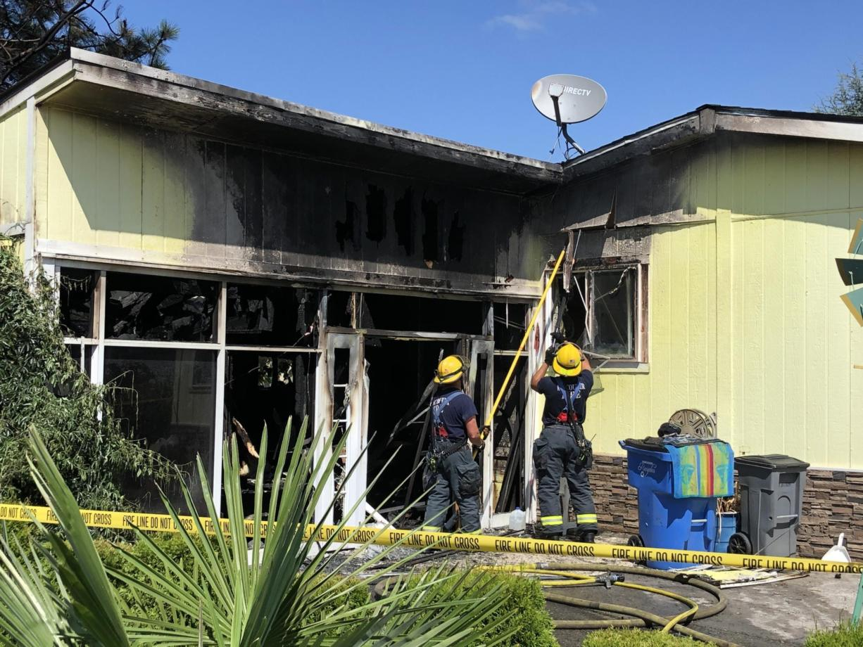 Vancouver Fire Department crews were dispatched at 9:49 a.m. Tuesday, Aug. 4, to 13217 N.E. 59th St., Sky Ridge Estates mobile home park, for the report of a residential fire. Firefighters extinguished a mobile home fire and rescued a cat.
