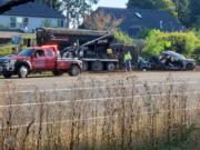 WSP Troopers investigate a Monday morning crash near 152nd and Padden Parkway in Vancouver.