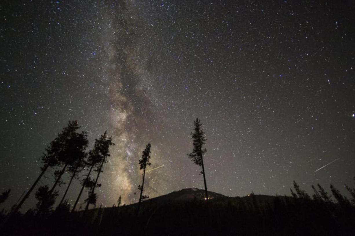 A portion of the Milky Way is seen Aug. 22 over Mount Bachelor in Oregon.