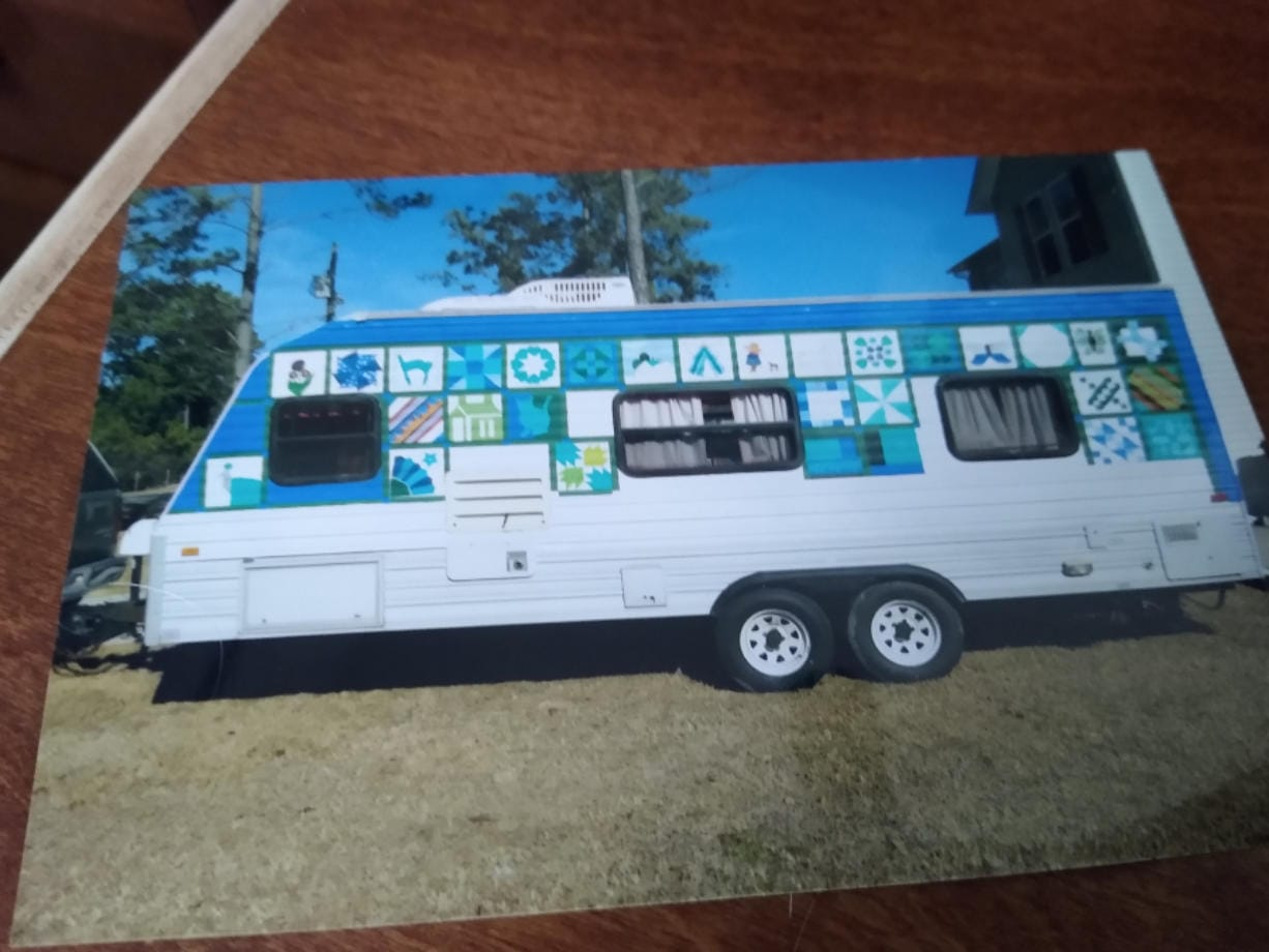Contributed photo Kerry Schuller's tried-and-true Terry travel trailer was stolen Friday. She wants it back and hopes her unique paint job will help someone spot it.