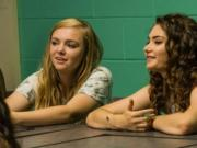 "Elsie Fisher, left, and Emily Robinson in the movie ""Eighth Grade."" (Linda Kallerus/A24/TNS)"