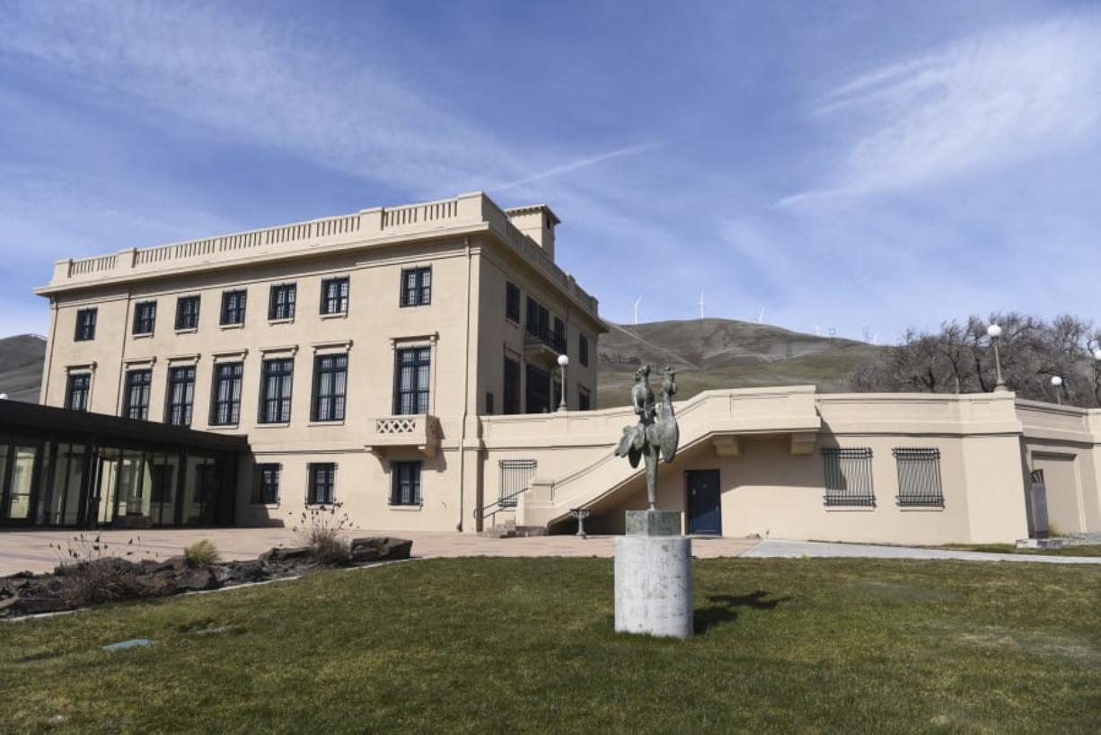 A sculpture by Battle Ground artist James Hansen is pictured in the lawn of the Maryhill Museum of Art in Goldendale. The museum will reopen Friday.