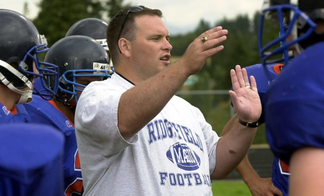 Ridgefield High School football coach George Black in 2002.