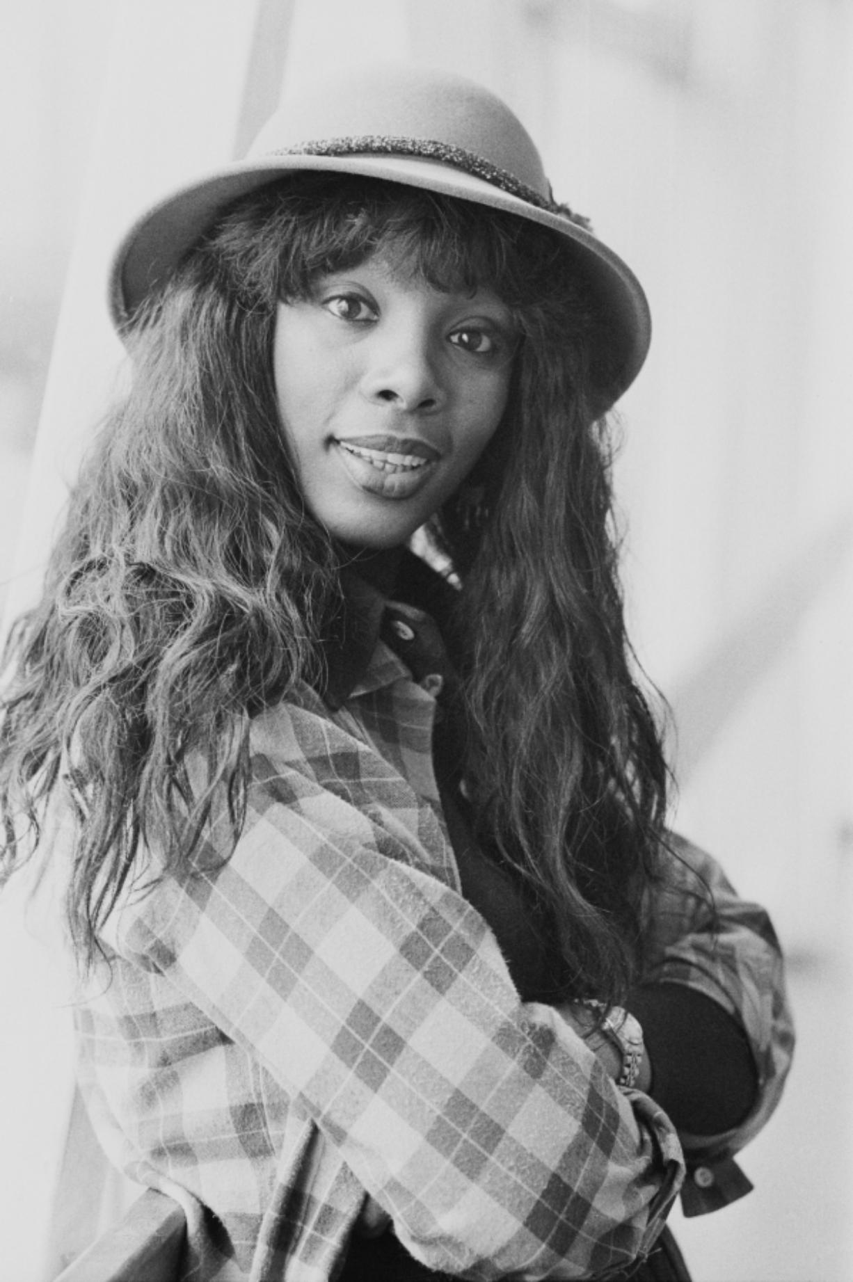 Singer and songwriter Donna Summer, seen on Oct. 21, 1977.