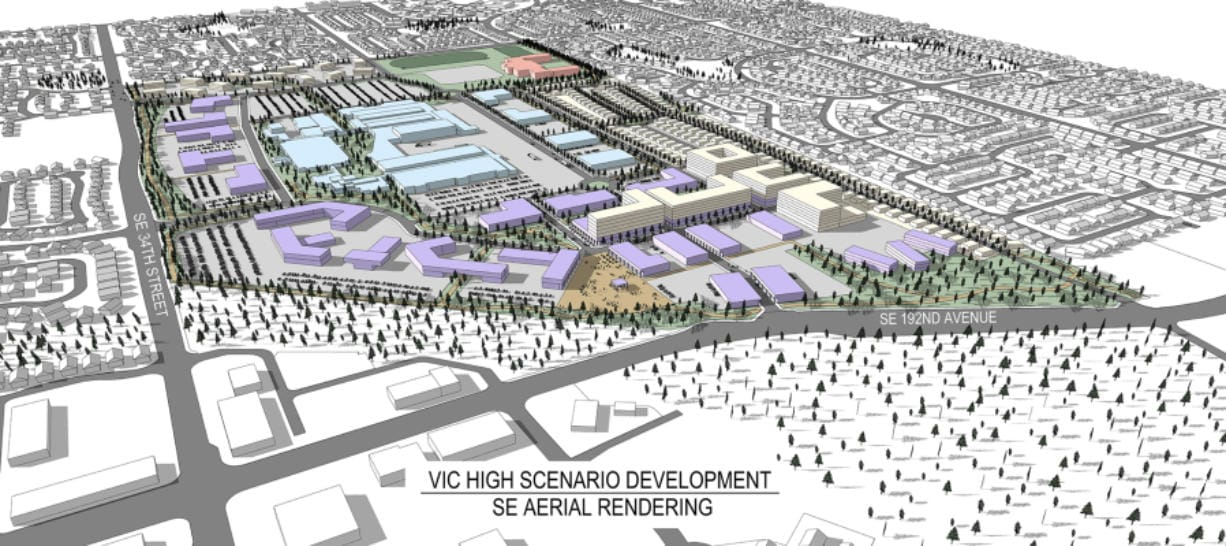 A concept illustration shows how the Vancouver Innovation Center at the former HP campus could be configured, although the final layout will be determined through the master planning process, and individual building designs will come later. The light blue represents the existing office and industrial buildings, with purple representing potential new office or light-industrial spaces and white representing residential buildings. The red building is a potential middle school.