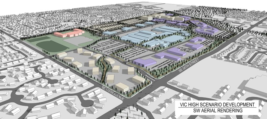 A concept illustration shows how the Vancouver Innovation Center at the former HP campus could be configured, although the final layout will be determined through the master planning process, and individual building designs will come later. The light blue represents the existing office and industrial buildings, with purple representing potential new office or light industrial spaces and white representing residential buildings. The red building is a potential middle school.