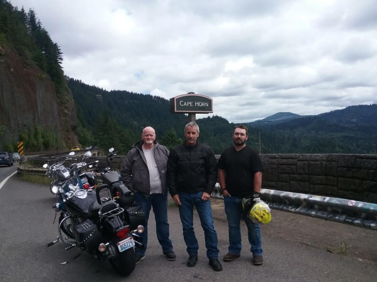 """WASHOUGAL: From left is the late Rath """"Cy"""" Cyrus, Dale Williams and his son, Torrin Williams, at Cape Horn in the Columbia River Gorge."""