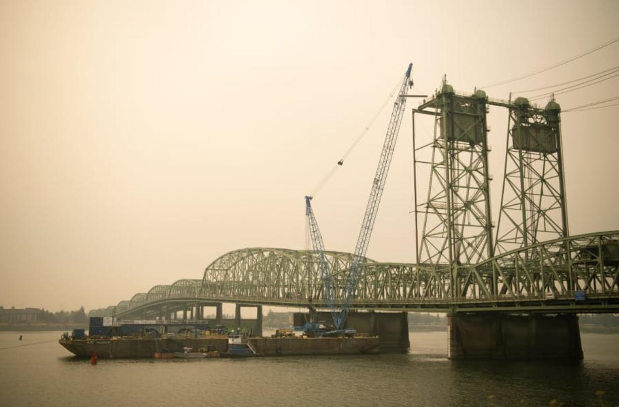 The lift towers on the northbound span of the I-5 Bridge are pictured in Vancouver on Sept. 10, 2020.