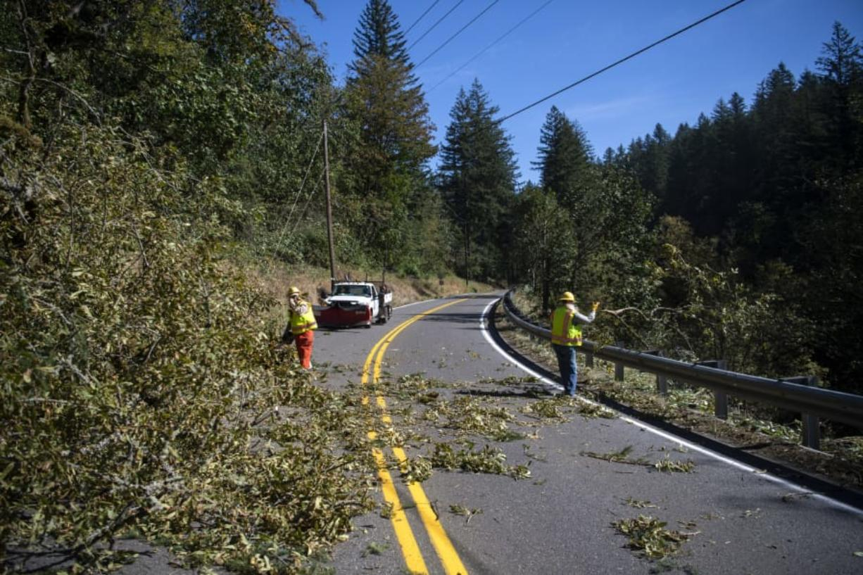 Clark County Public Works employees clear a downed tree from Washougal River Road in Washougal on Tuesday.