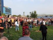 Thousands of people gathered Friday evening at Vancouver Waterfront Park for Let Us Worship, a national tour petitioning against bans on large gatherings at houses of worship.