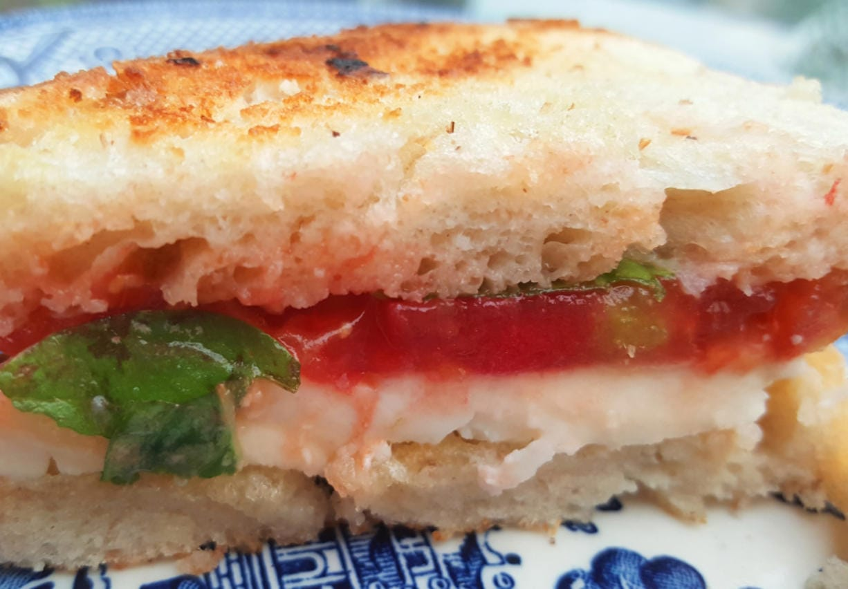 This is one of my favorite ways to eat a tomato: crusty white bread with thick slices of tomato and fresh mozzarella, plus a leaf or two of fresh basil.
