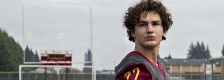 Prairie High School football player Dustin Shelby, whose college recruiting prospects have been severely impacted by the COVID-19 disruption of the football season, is seen at his school's football field Monday afternoon.