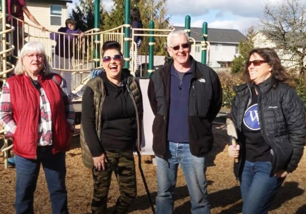 BATTLE GROUND: Parks and Community Engagement Advisory Board members Jen Hamilton, Josie Calderon, Glen Erickson, and Michelle Yenderrozos at Battle Ground's Cresap Park.