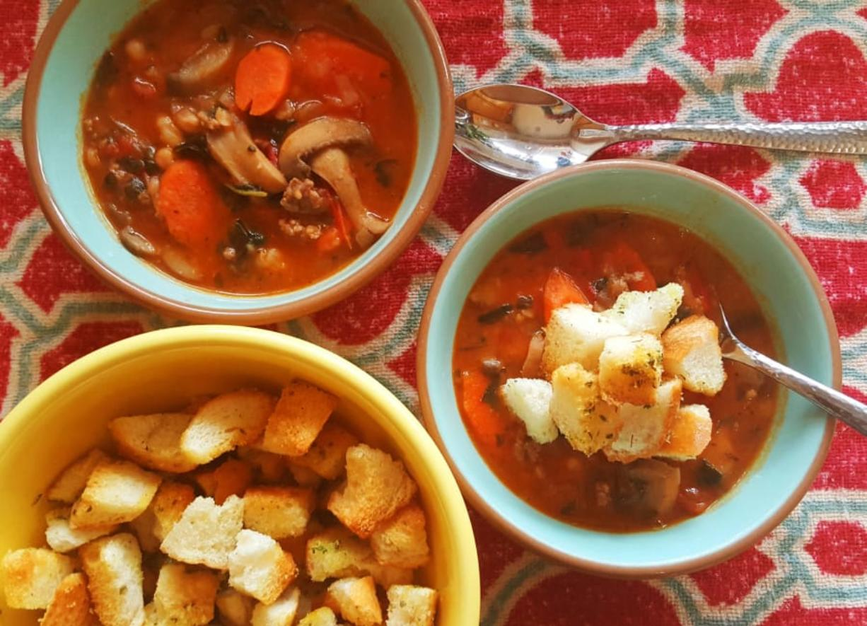 This hearty Italian stew takes its inspiration from minestrone soup, but is thickened with (shhhh!) leftover mashed potatoes.