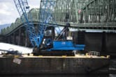 Crews on Saturday began a nine-day trunnion repair project on the Interstate 5 Bridge.