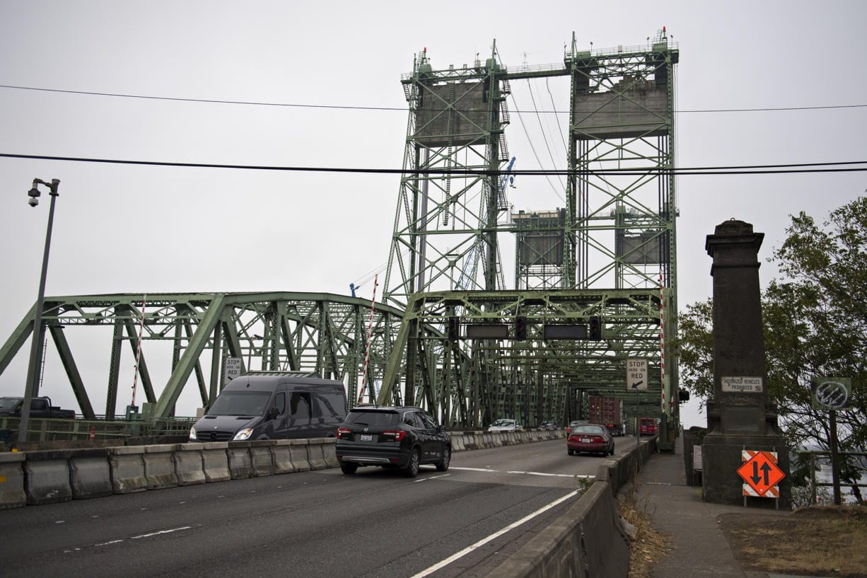 Traffic flows smoothly in both directions in the western section of the Interstate Bridge on Monday morning, Sept. 21, 2020. The northbound lanes in the eastern section of the bridge were closed because of a trunnion replacement project.