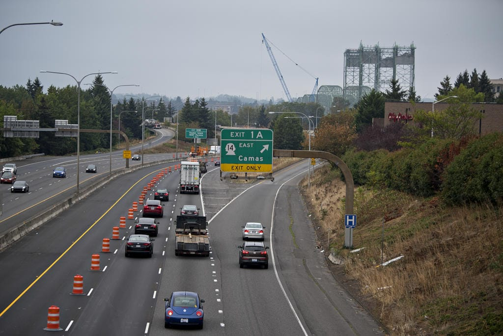 Traffic flows smoothly in the southbound direction of Interstate 5 as motorists near the Interstate Bridge on Monday morning, Sept. 21, 2020.