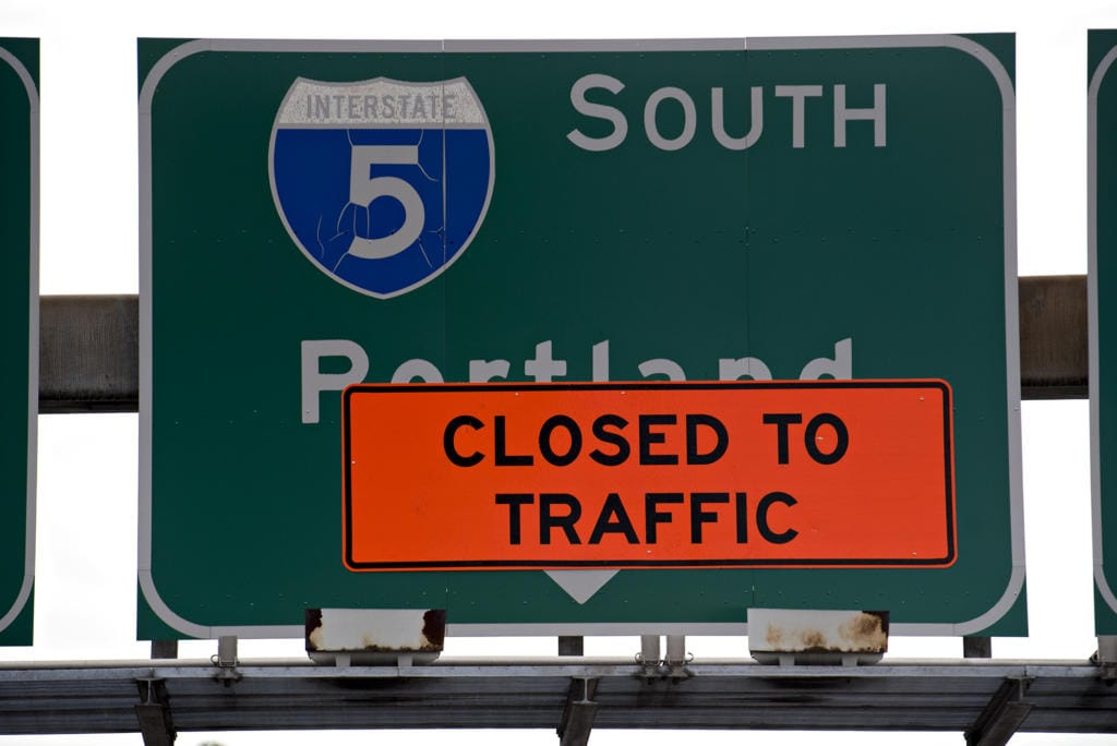 A sign posted along West 5th Street notifies motorists the on-ramp to Interstate 5 southbound is closed Monday morning, Sept. 21, 2020. Traffic was routed around the area and still allowed to continue south towards Portland.