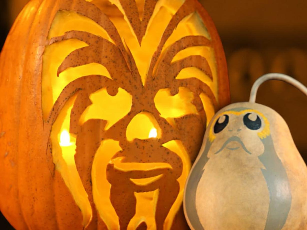 Chewbacca and porg jack-o'-lanterns (Contributed photo)