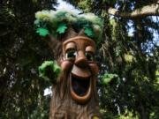 The Friends of Trees Garry Oak mascot films a live Facebook video to kick off Give More 24 at Esther Short Park in Vancouver on Sept. 24, 2020.