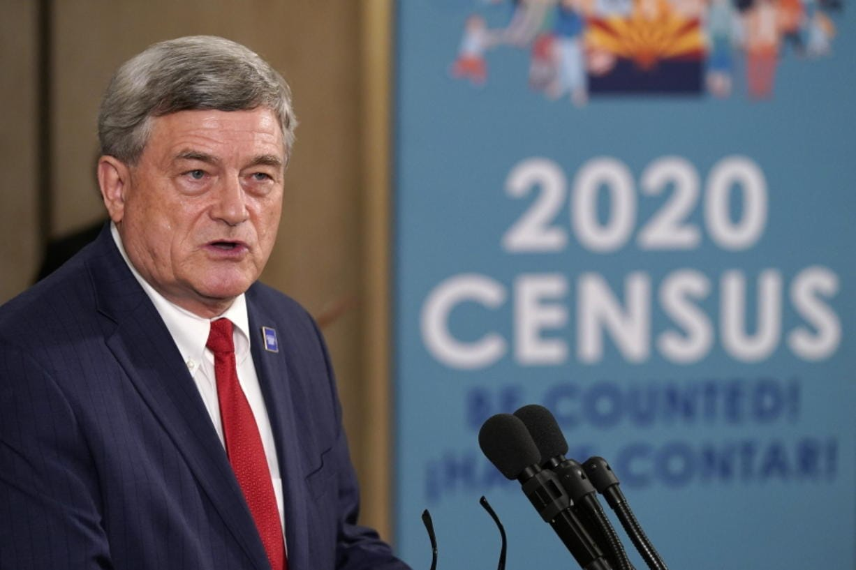 U.S. Census Director Steven Dillingham speaks as he joins Arizona Gov. Doug Ducey as they hold a news conference to urge Arizonans to participate in the nation's once-a-decade census population count Thursday, Sept. 17, 2020, in Phoenix. Ending the 2020 census at the end of September instead of the end of October, could cost Florida and Montana congressional seats and result in Texas, Florida, Arizona, Georgia, and North Carolina losing $500 million in federal funding for healthcare for its neediest residents. (AP Photo/Ross D.
