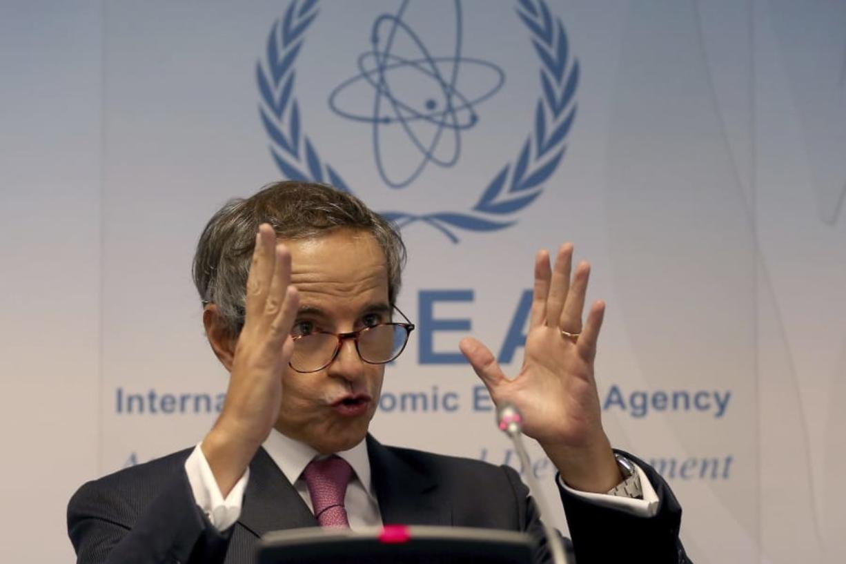 Director General of International Atomic Energy Agency, IAEA, Rafael Mariano Grossi from Argentina, addresses the media during a news conference after a meeting of the IAEA board of governors at the International Center in Vienna, Austria, Monday, Sept. 14, 2020.