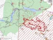 A U.S. Forest Service map shows the latest spread of the Big Hollow Fire.