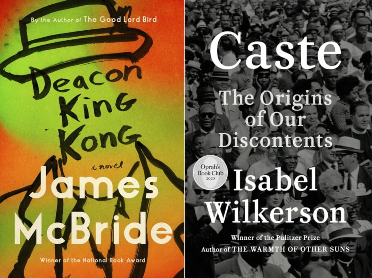 """This combination photo shows cover images for """"Deacon King Kong,"""" a novel by James McBride, left, and """"Caste: The Origins of Our Discontents"""" by Isabel Wilkerson. McBride and Wilkerson are among the nominees for the Kirkus Prize, a $50,000 honor for the best fiction, nonfiction and children's books."""