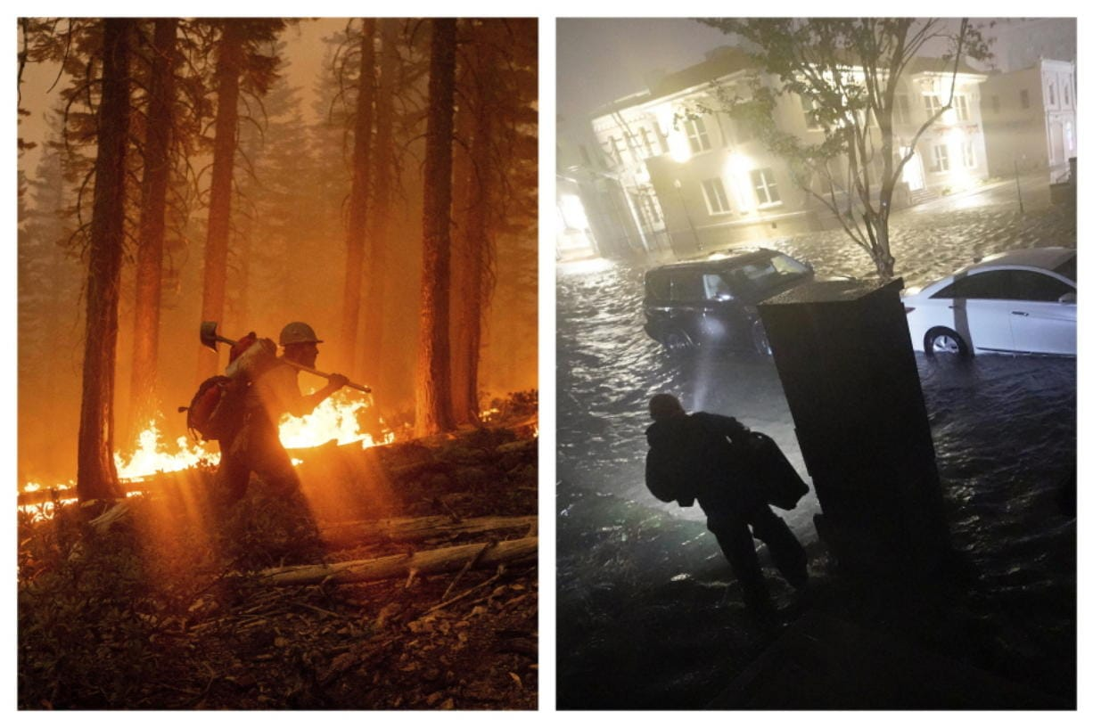 This combination of photos shows a firefighter at the North Complex Fire in Plumas National Forest, Calif., on Monday, Sept. 14, 2020, left, and a person using a flashlight on flooded streets in search of their vehicle, Wednesday, Sept. 16, 2020, in Pensacola, Fla. In the past week, swaths of the country have been burning and flooding in devastating extreme weather disasters.