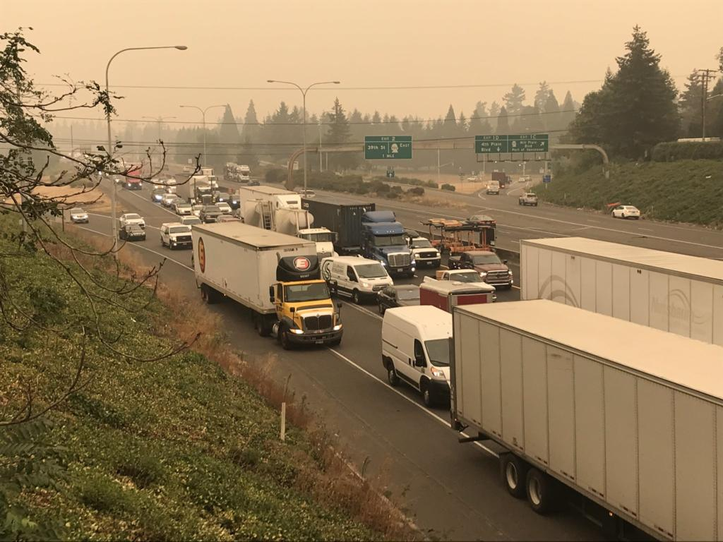Traffic backs up along Interstate 5 southbound on Friday morning in Vancouver after a fatality involving a pedestrian closed the southbound I-5 bridge.