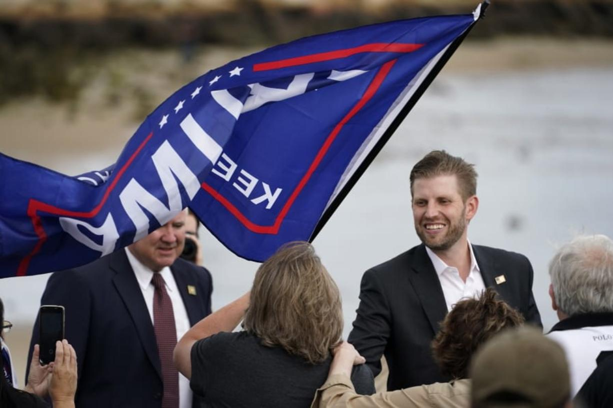 Eric Trump, the son of President Donald Trump, greets supporters at a campaign rally, Tuesday, Sept. 17, 2020, in Saco, Maine. (AP Photo/Robert F.