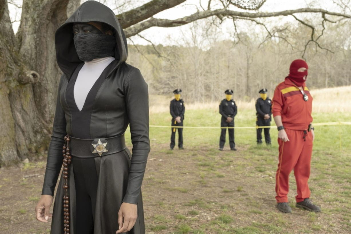 "Regina King in a scene from ""Watchmen."" The series is nominated for 26 Emmy Awards including one for outstanding limited series."