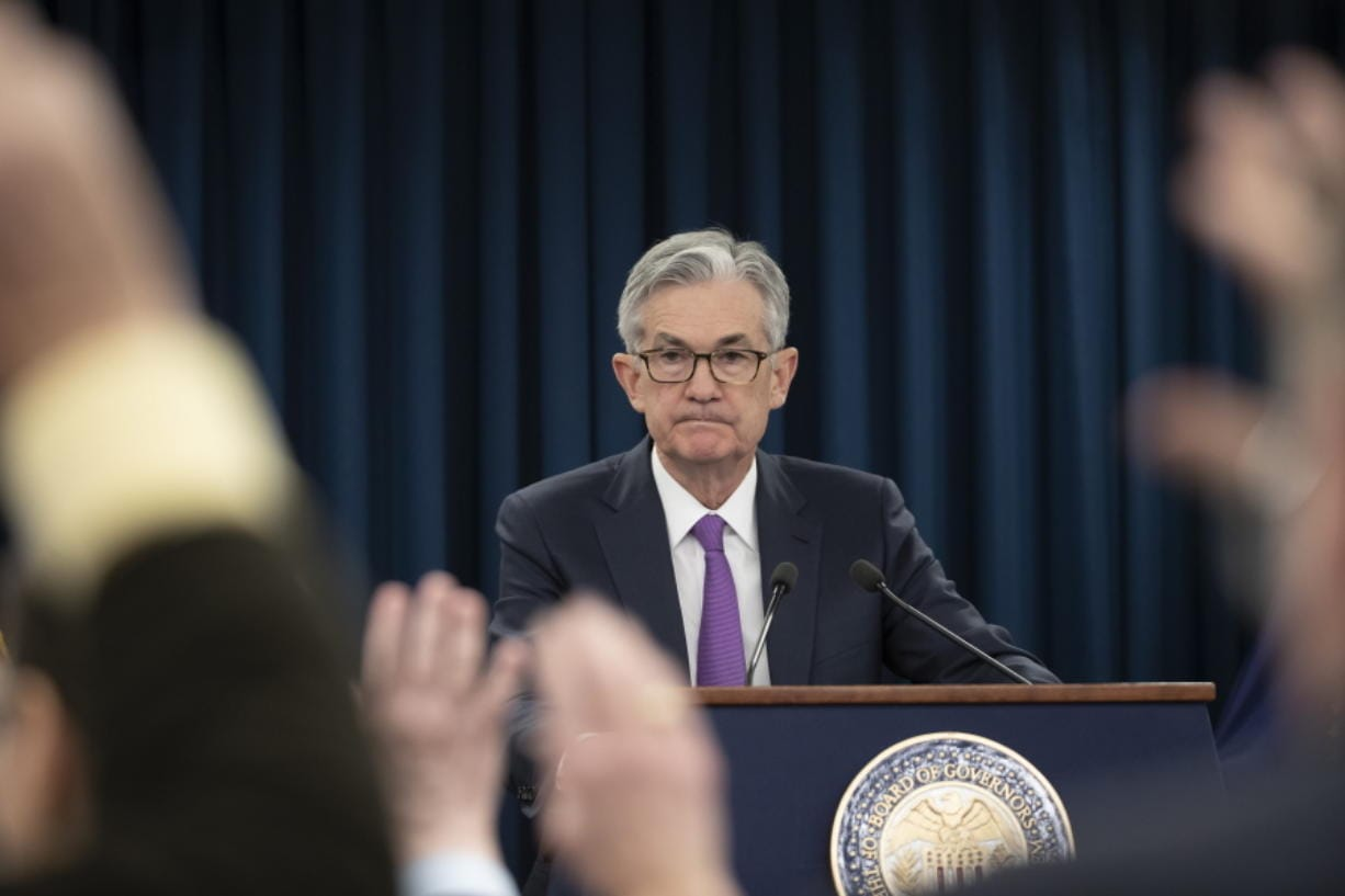 FILE - In this Jan. 30, 2019, file photo, Federal Reserve Chairman Jerome Powell waits for a question from a reporter at a news conference in Washington. Federal Reserve policymakers will meet for two days beginning Tuesday, Sept. 15, 2020, for the first time since they significantly revised the Fed's operating framework in ways that will likely keep short-term interest rates near zero for years to come.