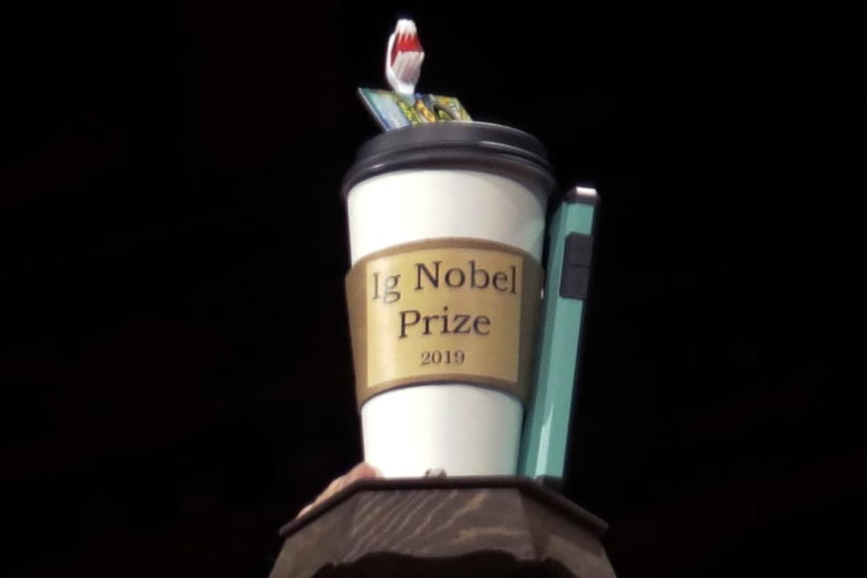 The 2019 Ig Nobel award is displayed at the 29th annual Ig Nobel awards ceremony at Harvard University in Cambridge, Mass.