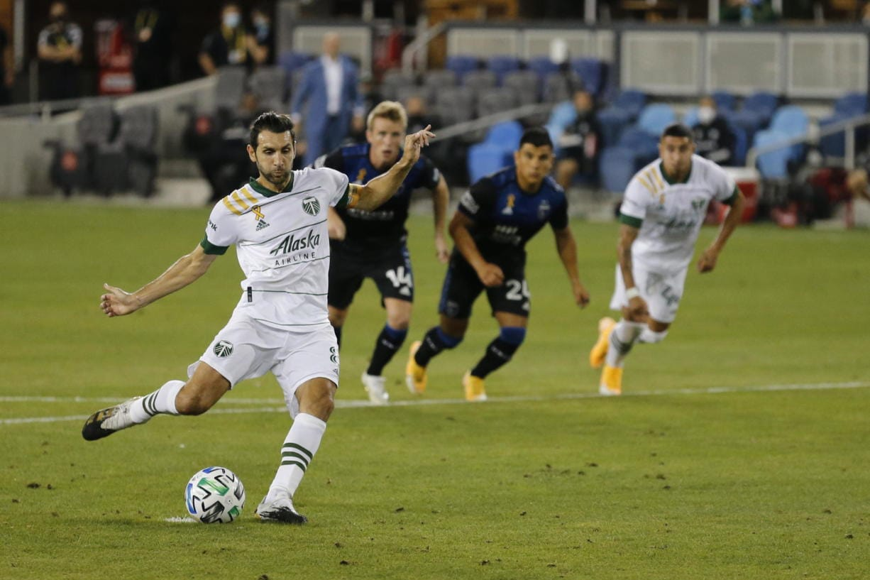 Portland Timbers midfielder Diego Valeri (8) kicks a penalty shot against San Jose Earthquakes during the first half of an MLS soccer match Saturday, Sept. 19, 2020, in San Jose, Calif.