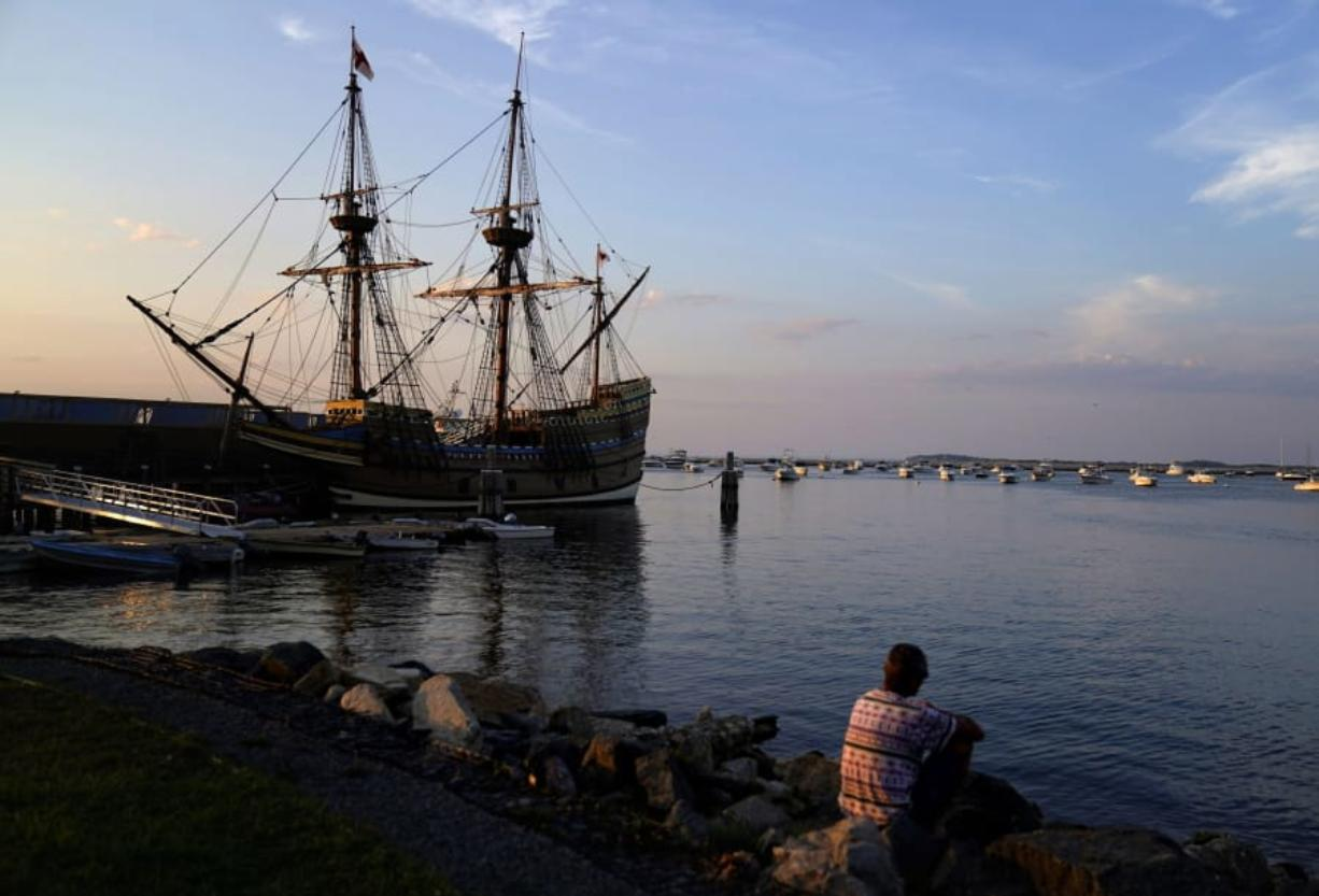 "The Mayflower II, a replica of the original Mayflower ship that brought the Pilgrims to America 400 year ago, is docked in Plymouth, Mass., days after returning home following extensive renovations, Wednesday, Aug. 12, 2020. A disease outbreak that wiped out large numbers of the Native inhabitants of what is now New England gave the Pilgrims a beachhead in the ""New World."" So, some historians find it ironic that a pandemic has put many of the 400th anniversary commemorations of the Mayflower's landing on hold."