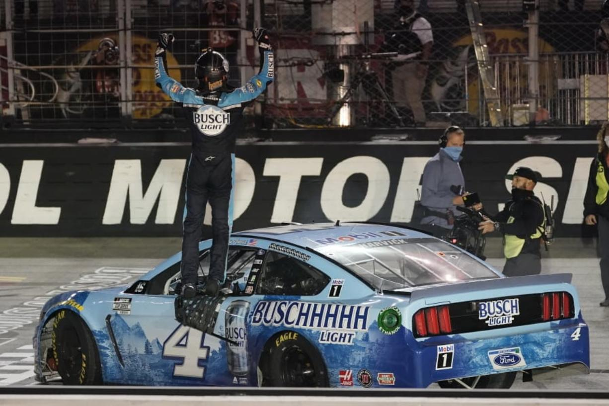 Kevin Harvick celebrates winning the NASCAR Cup Series auto race Saturday, Sept. 19, 2020, in Bristol, Tenn.