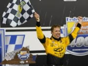 Brad Keselowski (2) celebrates in Victory Lane after winning a NASCAR Cup Series auto race Saturday, Sept. 12, 2020, in Richmond, Va.